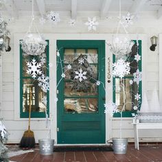 Christmas : White and Tosca Front Porch Decorations Idea for Christmas with Homemade Hang Snowflakes and Wreath and White Pianted Dry Twigs also Wall Sconces. Charming Christmas Front Porch Decorating Ideas Bringing The Holiday Feelings Front Door Christmas Decorations, Christmas Front Doors, Christmas Porch, Front Door Decor, Winter Christmas, All Things Christmas, Christmas Wreaths, Outdoor Decorations, Winter Porch