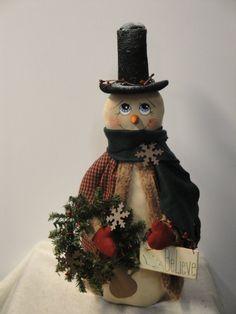 Primitive Snowman Cloth Doll handmade by MorningMistDesigns, $55.00