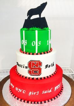 Dewey's! This is adorable. You'll only get it if you're from NC! An NC State cake to celebrate an engagement. Cake # 012.