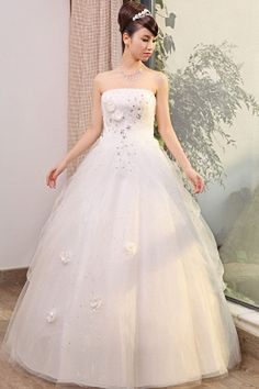 Ivory Tulle Strapless Bridal Gown - Order Link: http://www.theweddingdresses.com/ivory-tulle-strapless-bridal-gown-twdn0355.html - Embellishments: Applique , Beading , Embroidery , Sash; Length: Floor Length; Fabric: Tulle; Waist: Natural - Price: 162.79USD