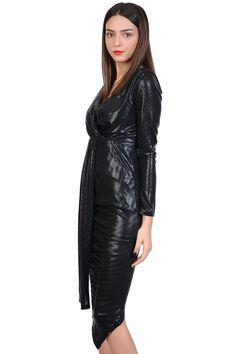 Rochie de seara negra asimetrica 2356 NG. Rochii LA FEMME Leather Skirt, Skirts, Fashion, Black, Woman, Moda, Leather Skirts, Fashion Styles, Skirt