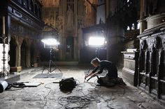 Conservation staff at Westminster Abbey clean the Cosmati pavement surrounding the tomb of Edward the Confessor and asses it for conservation on September 24, 2012 in London, England. The highly decorative stone pavement is formed of small precious stones such as onyx and porphyry on a base of dark limestone, known as Purbeck marble. A shrine was erected in 1163 following the Confessor's canonisation and St Edward's body was brought in on October 13, 1269 to its new resting place.The…