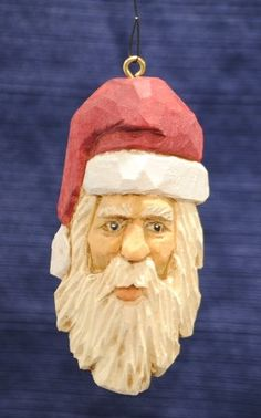 Carved santa ornament; Etsy