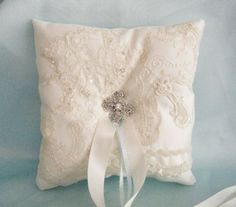 Luxury Ivory Lace Ring Bearer Pillow, Lace Collage with Crystal Brooch Stunning OOAK RARE
