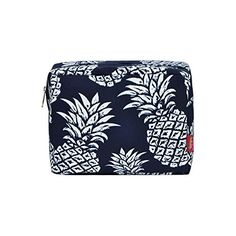 N. Gil Large Travel Cosmetic Pouch Bag 2 (Pineapple Navy ... Navy Blue, Blue And White, Cosmetic Pouch, Cute Bags, Pouch Bag, Girly Things, Fashion Accessories, Great Gifts, Cosmetics