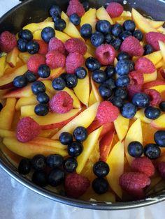 Nectarine raspberry blueberry cake.