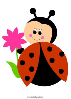 Coccinella con fiore - TuttoDisegni.com Art Drawings For Kids, Easy Drawings, Art For Kids, Diy And Crafts, Crafts For Kids, Arts And Crafts, Applique Patterns, Applique Designs, Preschool Crafts