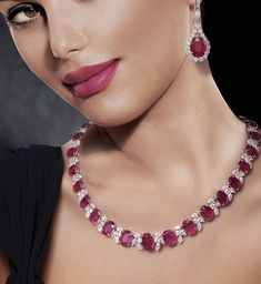 """""""Good Morning world! Starting my day with Gorgeous Ruby and Diamond Set. ❤️ I Love Rubies as They Are Feminine and Elegant! Ruby And Diamond Necklace, Diamond Pendant, Ruby Necklace, Emerald Jewelry, Diamond Jewelry, Jewelry Sets, Fine Jewelry, Jewelery, Jewelry Necklaces"""