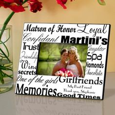 Personalized Matron of Honor Picture Frame - Bridesmaid Gifts - Wedding Gifts - $29