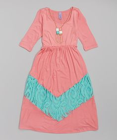 Look at this Coral Lace Chevron Maxi Dress on Zulily today!