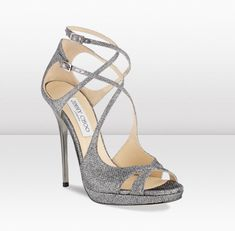 Jimmy Choo - Mimic - Anthracite Lamé Glitter Strappy Sandals - JIMMYCHOO.COM