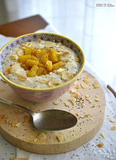 Receta de porridge escocés con mango caramelizado, el desayuno más completo Mango, Hummus, Cereal, Oatmeal, Healthy Recipes, Healthy Food, Breakfast, Ethnic Recipes, Bechamel