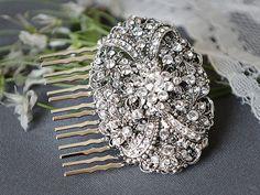 VANESSA Victorian Wedding Hair Comb SWAROVSKI by GlamorousBijoux, $70.00