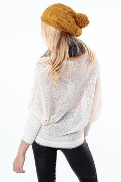 Loose Knit Button Up Metallic Trim Sweater