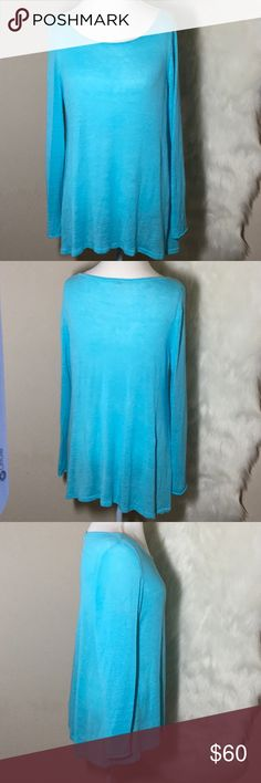 "Eileen Fisher Aqua Linen Knit Lightweight Top EUC Eileen Fisher Aqua Organic Linen Knit Lightweight Top Length 28"", Chest arm pit to arm pit 21"", Sleeves 26"" Size L EUC Eileen Fisher Tops"