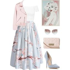 Vintage Glamour & Pastels by ines98santos on Polyvore featuring moda, Alice + Olivia, MANGO, Chicwish, Steve Madden, Kate Spade, Bob Mackie and vintage