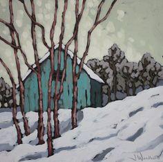 Jennifer Woodburn - Blue Barn - inches Color of barn Winter Painting, Winter Art, Landscape Art, Landscape Paintings, Batik Art, Painting Gallery, Paintings I Love, Art Plastique, Tree Art