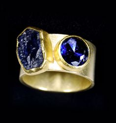 Petra Class ~ Ring ~ 22k and 18k Gold ~ Facetted Round and Rough Montana Sapphires