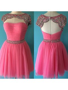 Attractive A-line Red Sweetheart Beaded Short Prom Dress, Homecoming Dresses · Formal Dress · Online Store Powered by Storenvy Pretty Short Dresses, Pretty Homecoming Dresses, Prom Dresses 2016, Evening Dresses, Bridesmaid Dresses, Graduation Dresses, Formal Dresses Online, Dress Online, Short Cocktail Dress