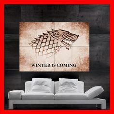 Stark Direwolf Game of Thrones Mega Poster Shield sword stark sunset NEW. $18.92, via Etsy.