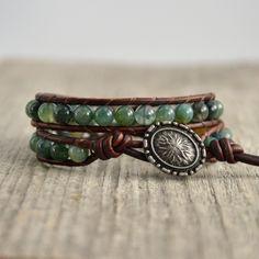 Natural wrap bracelet. Green bead bracelet. Earthy jewelry by SinonaDesign on Etsy