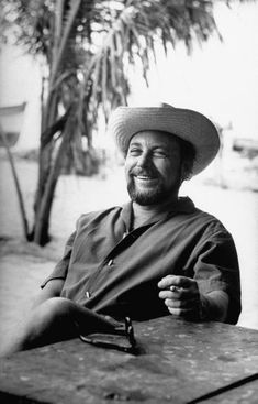 He looks so tragically at ease in this picture.   Tennessee Williams on location for filming of the motion picture adaptation of his play The Night of the Iguana. Mismaloya, Mexico 1963