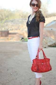 Black and white polka dots, white pants, red accessories and pearls!