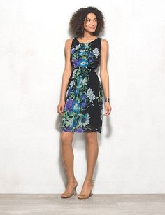 Women's Petite Floral Belted Dress