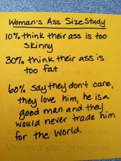 A twist on ass sizes... Men...
