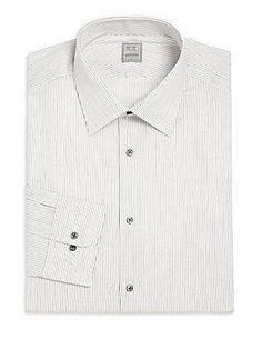 Ike Behar Pinstriped Cotton Dress Shirt - Steel - Size 17.5 34-35