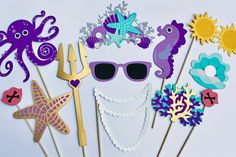 16 Nautical Photo Booth Props -Marine Party Prop Set - Happy as a Clam, Mermaid, Under The Sea, Crow Mermaid Baby Showers, Baby Mermaid, Mermaid Birthday, Octopus Mermaid, Mermaid Crown, 30th Birthday, Under The Sea Theme, Under The Sea Party, Baby Shower Photo Booth