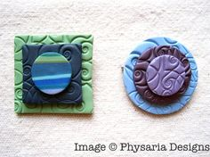 Polymer clay brooches.