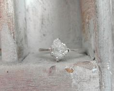 Snow white-Raw Rough Diamond - Solitaire- promise-one of a kind engagement ring on Etsy, $295.00