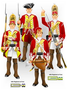 48th Foot with the 47th and 49th Foot - from Tim Reese's CD Rom of 20 illustrations of British Regiments as recorded by the painter David Morier