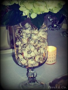 Wedding Centrepiece. Shredded Sheet Music as Vase Filler - By Cindy Perez for Perez & Co.