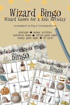 Wizard Bingo / Kids Birthday Party Games / Bingo for Kids / Family Game Night / Indoor Activities / Virtual Game Night / Halloween Bingo