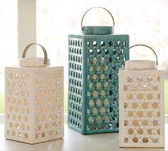 Shoreline Ceramic Lattice Lanterns - Ivory