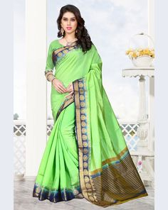 Green Raw Silk Saree With Blouse 68212