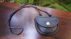 Tiny Black Vintage Leather Coach Bag with Belt Loop