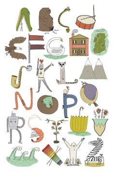 Alphabest Poster - An Illustrated Alphabet on Etsy, £7.36
