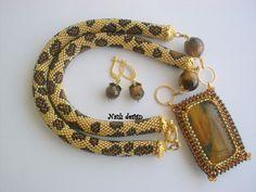 LEOPARD TIGER EYES Necklace Sead Bead Naturel Stone by NAZLI70, $80.00
