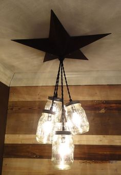Mason Jar Chandelier Barn Star - Country Rustic Primitive Pendant Light - 5 Jars in Home & Garden | eBay