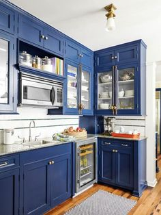 Kitchen: HGTV Magazine has the tips and tricks you need to know to properly paint cabinets. Repainting Kitchen Cabinets, Blue Kitchen Cabinets, Diy Cabinets, Kitchen Paint, Kitchen Redo, New Kitchen, Kitchen Remodel, Kitchen Design, Homemade Cabinets