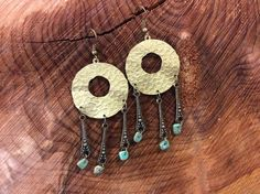 Handcrafted Brass & Turquoise Boho Style Earrings