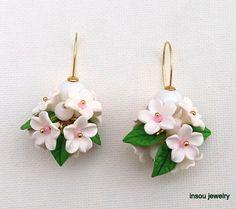 Flower Dangle Earrings, Spring Earrings, Handmade Earrings, Flower Jewelry, White Earrings, Floral Fashion, Clay Flowers, Gift For Her