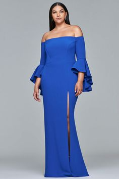 Faviana - 9426 Off Shoulder Fitted Gown with Slit