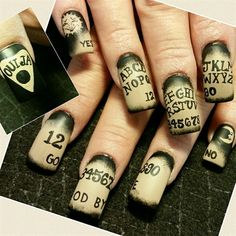 ouija board nails by from Nail Art Gallery - Halloween Ouija, Witchy Nails, Goth Nails, Crazy Nail Art, Crazy Nails, Halloween Nail Designs, Halloween Nail Art, Halloween Halloween, How To Do Nails