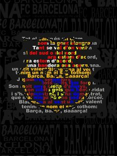 385. Barca shield with lyrics to the Barca Hymn.  Via Barcastuff