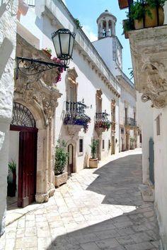 Italy, the ancient streets of Locorotondo
