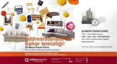 addresistanbul'da bahar temizliği! 26 Mayıs Pazar günü %50'ye varan indirimler, canlı müzik ve sokak lezzetleri eşliğinde addresistanbul'da! İndirimli, lezzetli, keyifli alışveriş partisine davetlisiniz.